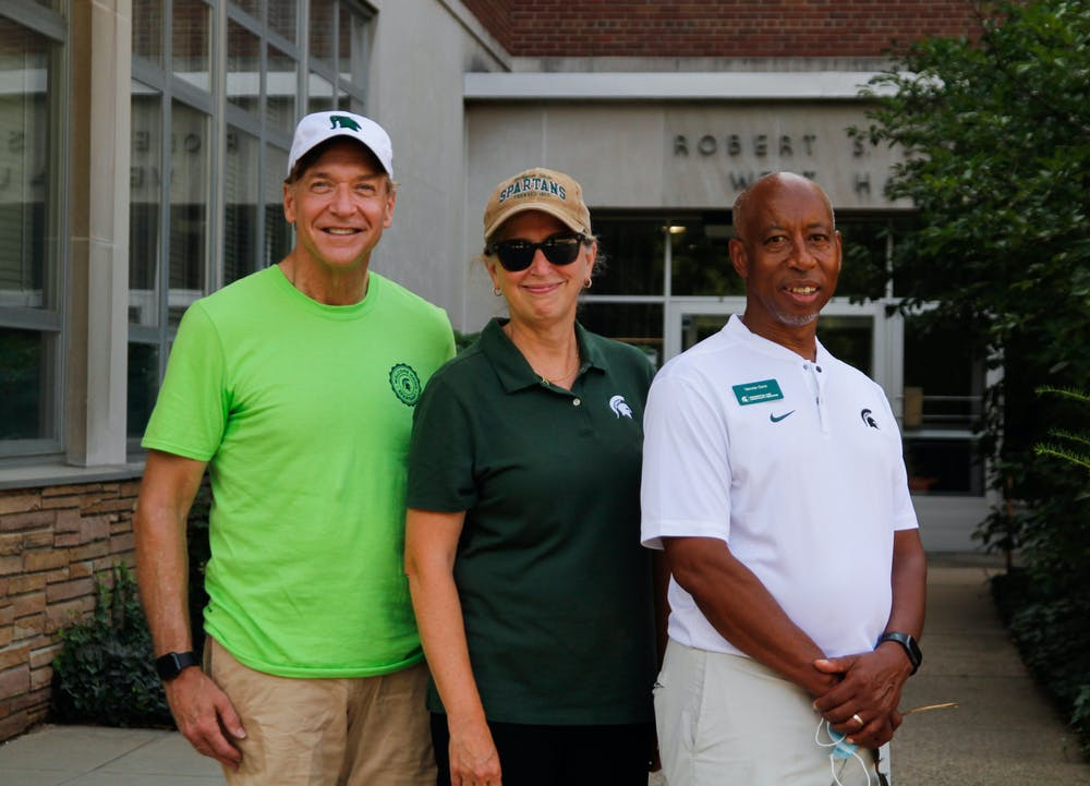 President Samuel L. Stanely Jr., Provost Teresa Woodruff and Senior Vice President for RHS and Auxiliary Enterprises Vennie Gore. August 28, 2021.