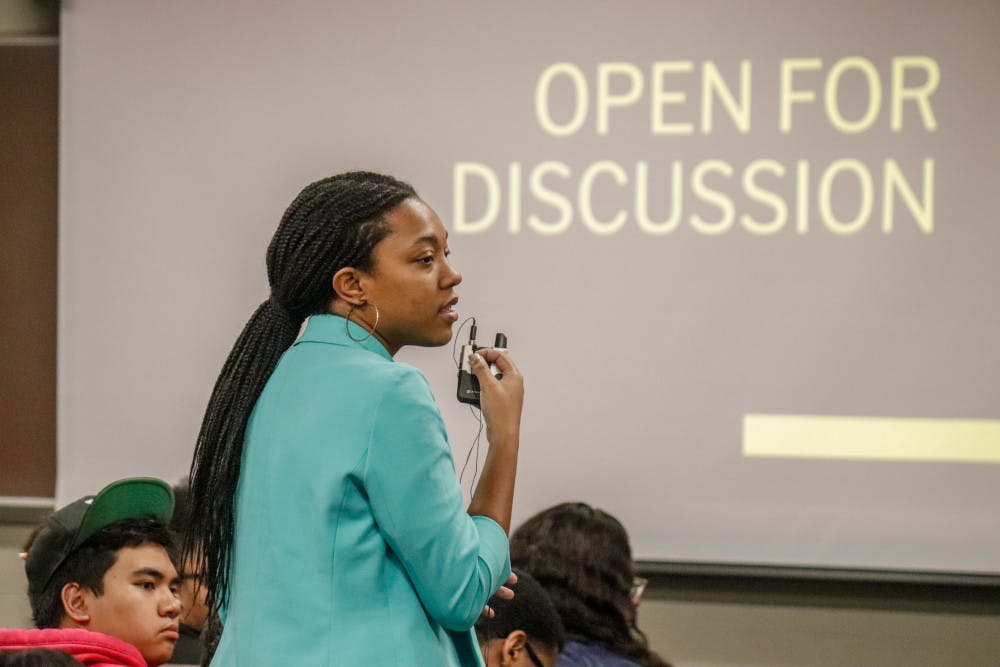 Professor of Plant Soil and Microbial Sciences Eunice Foster speaks at a BSA Community Forum at Akers Hall on Oct. 22, 2019.