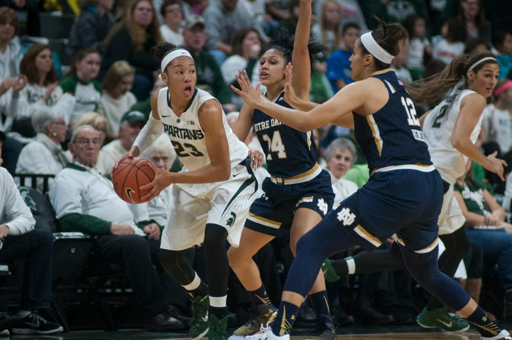 <p>Redshirted sophomore forward Aerial Powers controls the ball as Notre Dame guard Mychal Johnson, 14, and forward Taya Reimer, 12, defends her during the game on Nov. 19, 2014, at the Breslin Center. The Spartans lead the Fighting Irish at halftime, 30-29. Aerika Williams/The State News.</p>