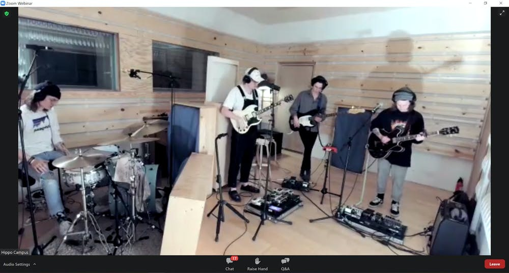 Hippo Campus band performs a virtual concert on Zoom on Jan. 26, 2021