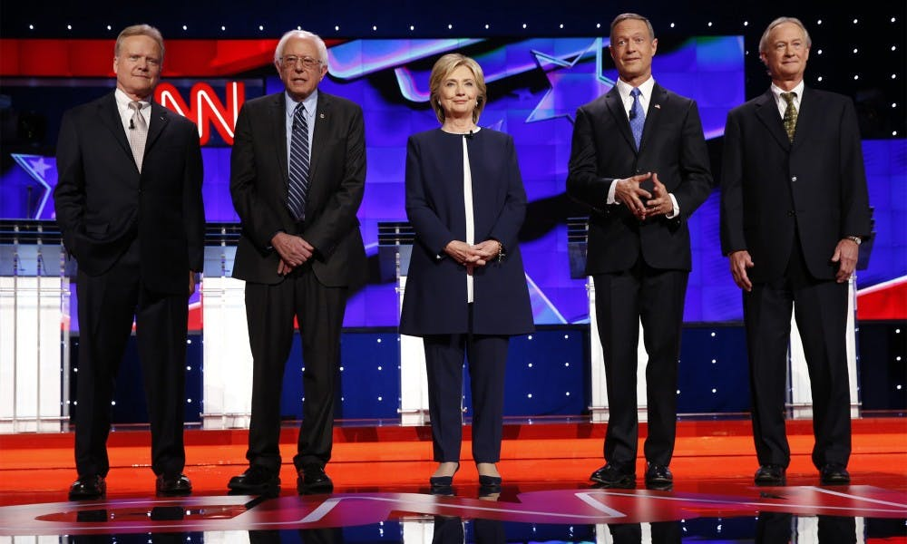 <p>From left, Democratic presidential candidates Jim Webb, Bernie Sanders, Hillary Rodham Clinton, Martin O'Malley and Lincoln Chafee on the debate stage on Oct. 13, 2015, in Las Vegas.</p>