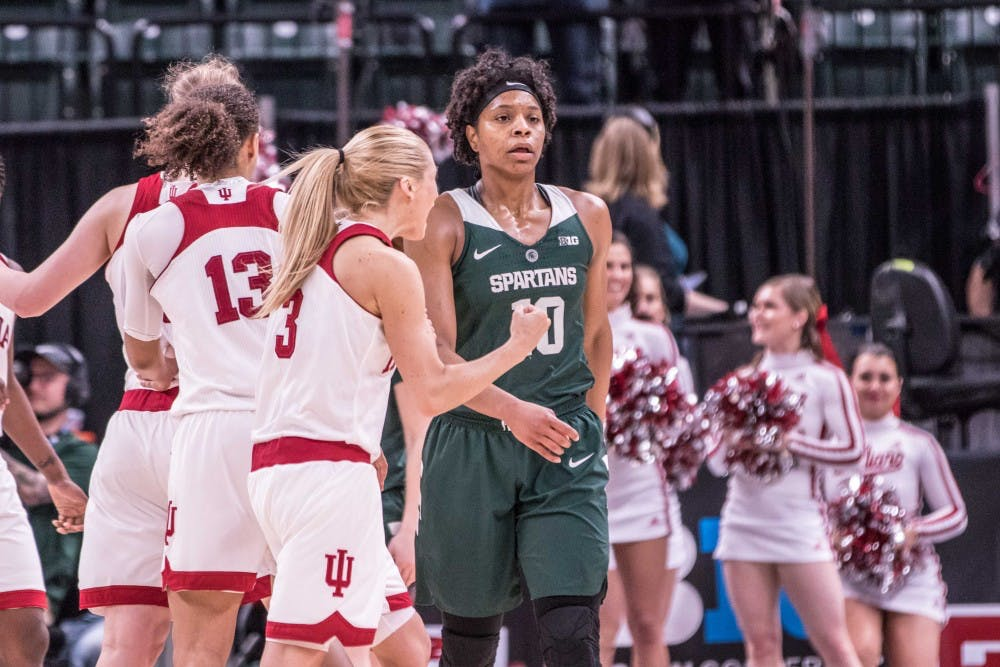 <p>Redshirt senior guard Branndais Agee (10) walks back to the bench after a game-tying shot by Indiana in the third overtime during the game on March 1, 2018 at Bankers Life Fieldhouse. The Spartans fell to the Hoosiers, 111-109, in 4OT.</p>