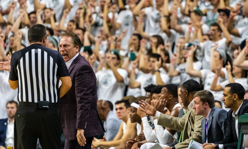 Coach Tom Izzo yells at an official after a Michigan State foul.The Spartans defeated the Britons, 85-50, at the Breslin Student Events Center on October 29, 2019.