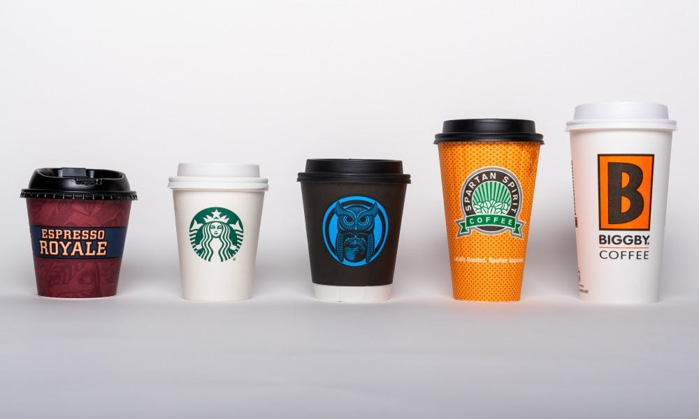 <p>Coffee cups from around East Lansing photographed on Aug. 13, 2019.</p>