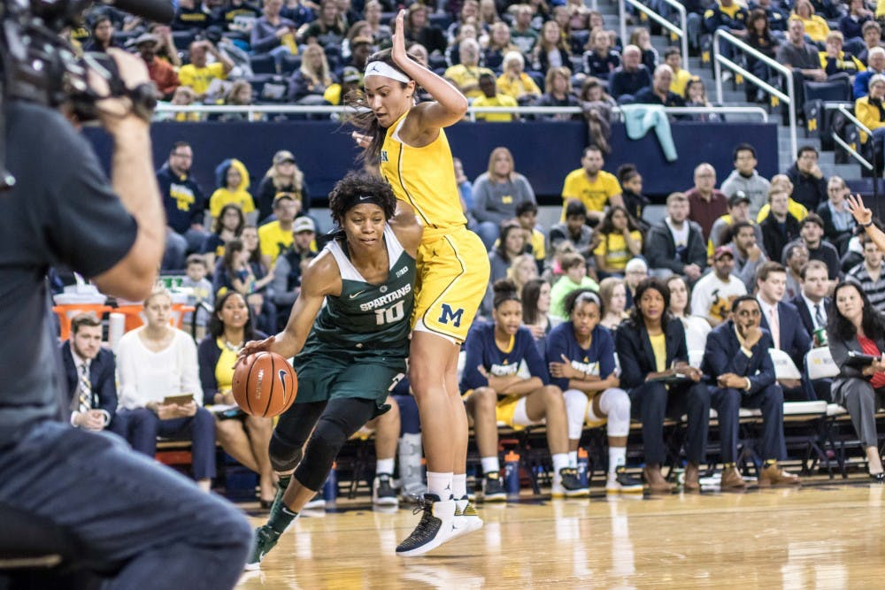 Redshirt senior guard Branndais Agee (10) drives on the baseline during the game against Michigan on Jan. 23, 2018, at Crisler Center. The Spartans fell to the Wolverines, 74-48.