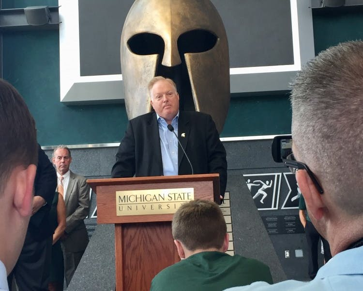 <p>Bill Beekman speaks at a July 16, 2018, press conference announcing his appointment as MSU&#x27;s permanent athletic director.</p>