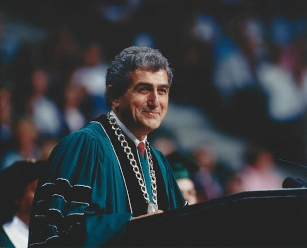 <p>Photo courtesy of Michigan State University. President John DiBaiggio at Commencement June 13, 1992. </p>