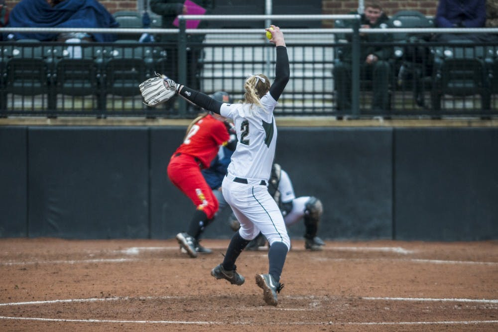Junior pitcher Kristina Zalewski (2) pitches the ball during the game against Maryland on March 31, 2017 at Secchia Stadium. The Spartans defeated the Terrapins, 11-3.