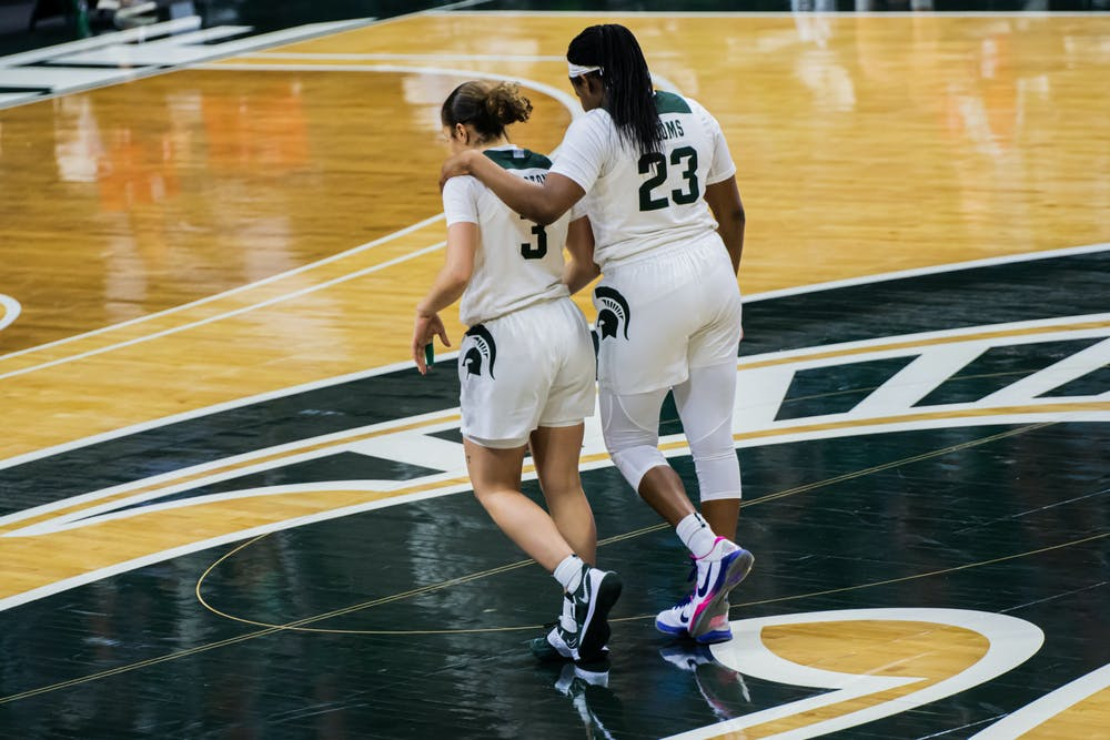 <p>Junior guard Janai Crooms and sophomore guard Alyza Winston walk down the court during the Spartans&#x27; 68-64 loss to Nebraska on Jan. 10.</p>