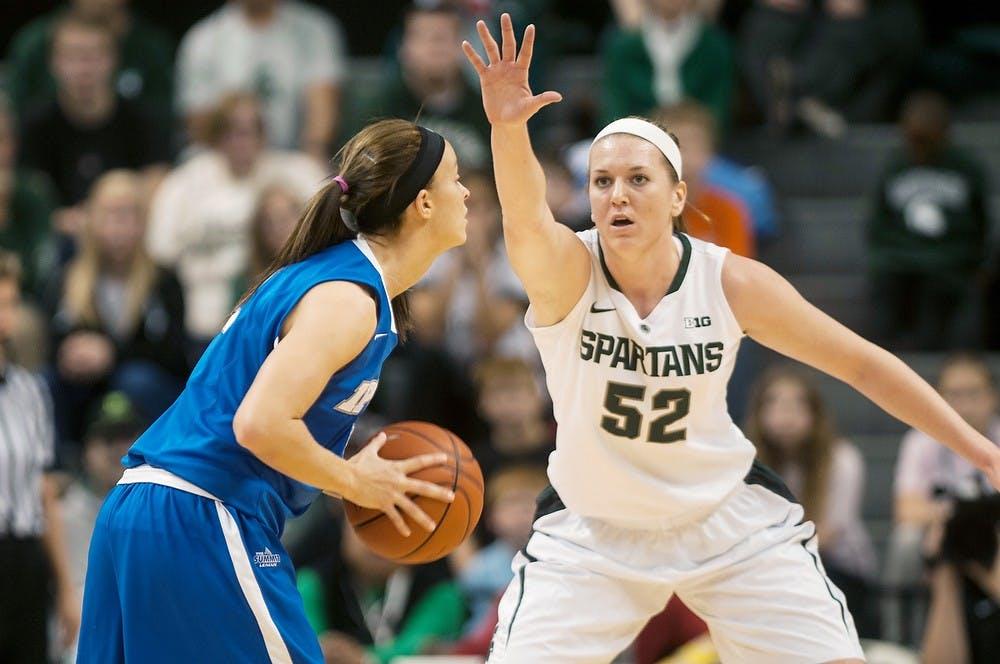 "<p>Junior forward Becca Mills defends <span class=""caps"">IPFW</span> guard Rachel Mauk Dec. 1, 2013, at Breslin Center. <span class=""caps"">IPFW</span> defeated <span class=""caps"">MSU</span>, 81-74. Margaux Forster/The State News</p>"