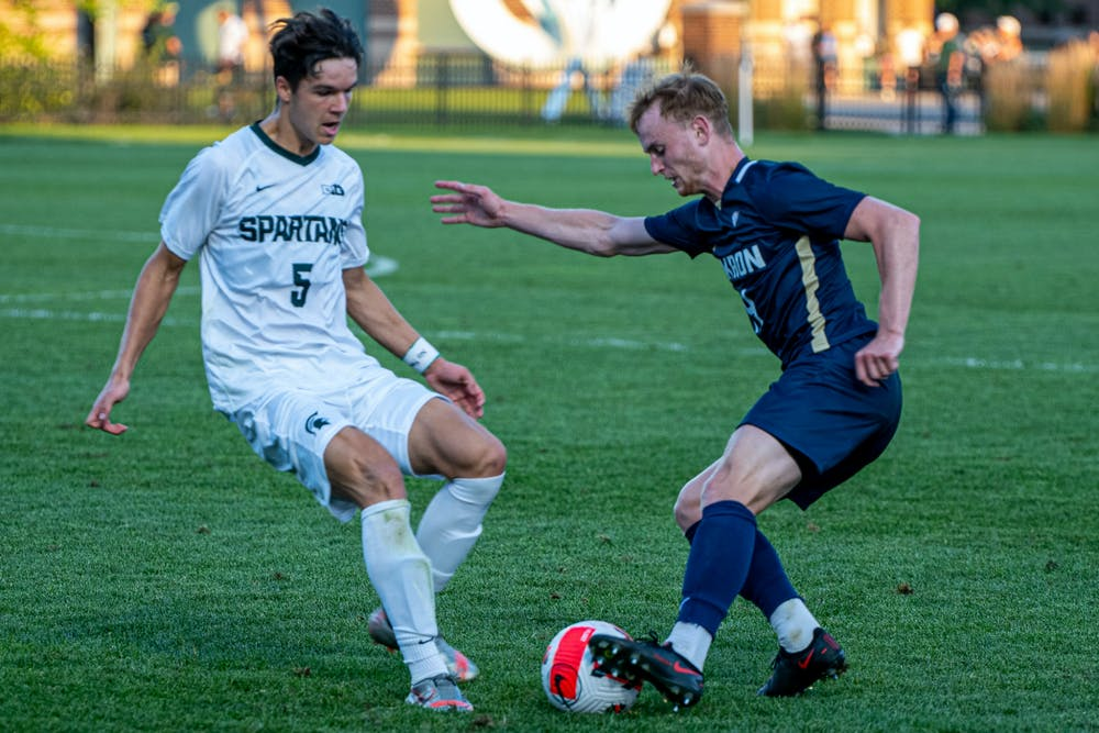 <p>Sophomore midfielder Jack Zugay makes a move on the ball during the Spartans&#x27; 2-1 loss to Akron on Aug. 30, 2021.</p>