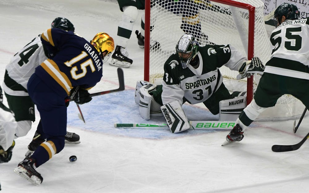 <p>Senior goaltender John Lethemon (31) protects the Spartan goal against right wing Fighting Irish Michael Graham (15). The Spartans upset the Fighting Irish, 3-2, on Nov. 23, 2019. </p>