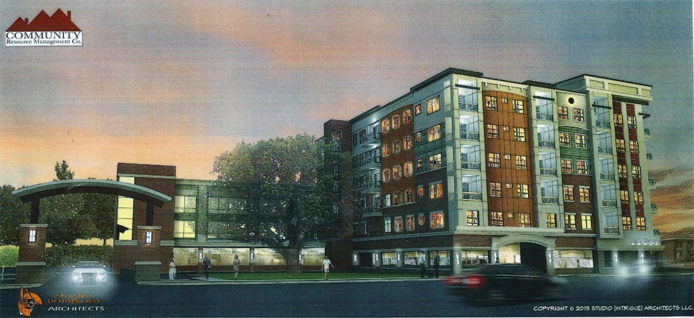 <p>Rendering of the six-story mixed-use building planned for 1301 and 1307 E. Grand River Ave. and 116-132 Spartan Ave. Rendering courtesy of Community Resource Management Company</p>