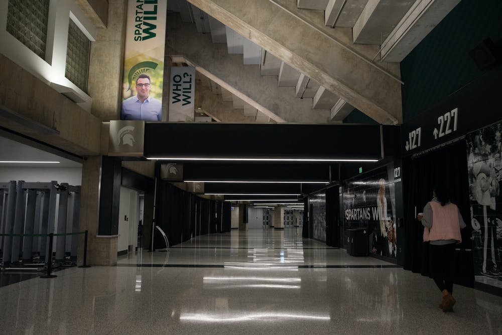 <p>A hallway in the Breslin Center photographed during a game against OSU on Feb. 25, 2021.</p>