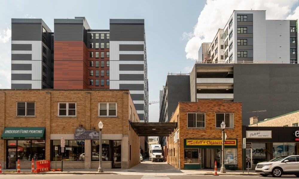 <p>Landmark Apartments and Newman Lofts as seen from M.A.C. Avenue, photographed on Aug. 12, 2019. </p>