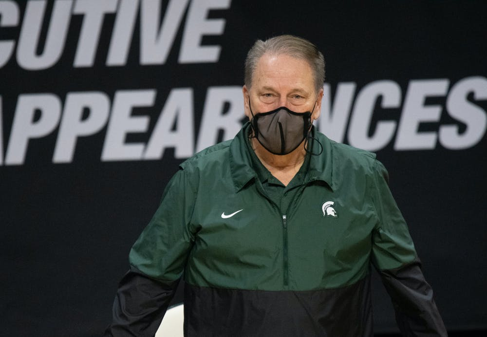 <p>MSU Head Coach Tom Izzo listens to the cheers and applause following a win against OSU on Feb. 25, 2021.</p>