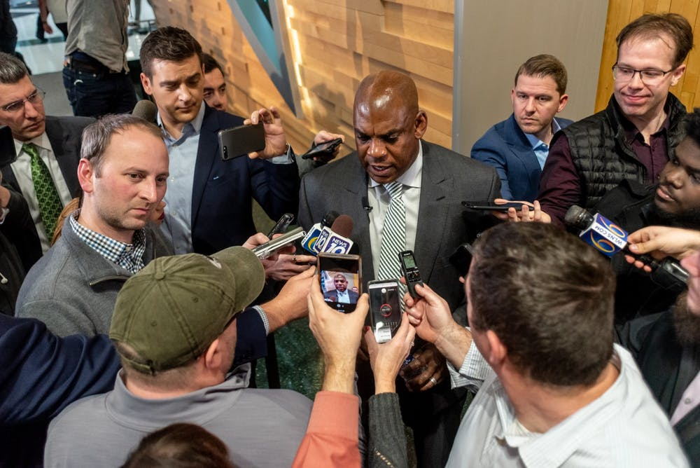<p>New head football coach Mel Tucker answers questions from the media at his introductory press conference at the Breslin Student Events Center on Feb. 12, 2020.</p>