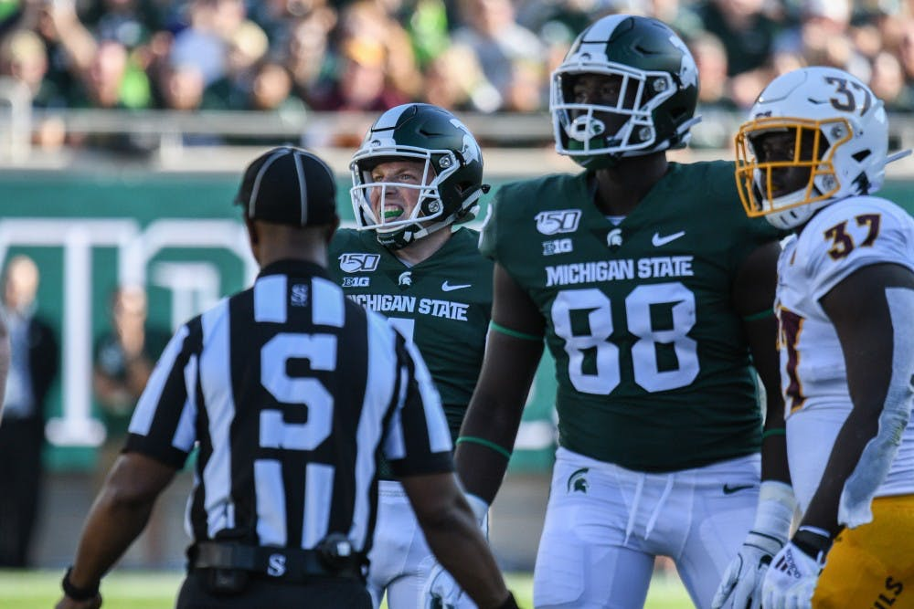 <p>Junior kicker Matt Coghlin (4) grimaces after he misses a field goal during the game against Arizona State on Sept. 14, 2019 at Spartan Stadium. The Spartans fell to the Sun Devils, 10-7.</p>