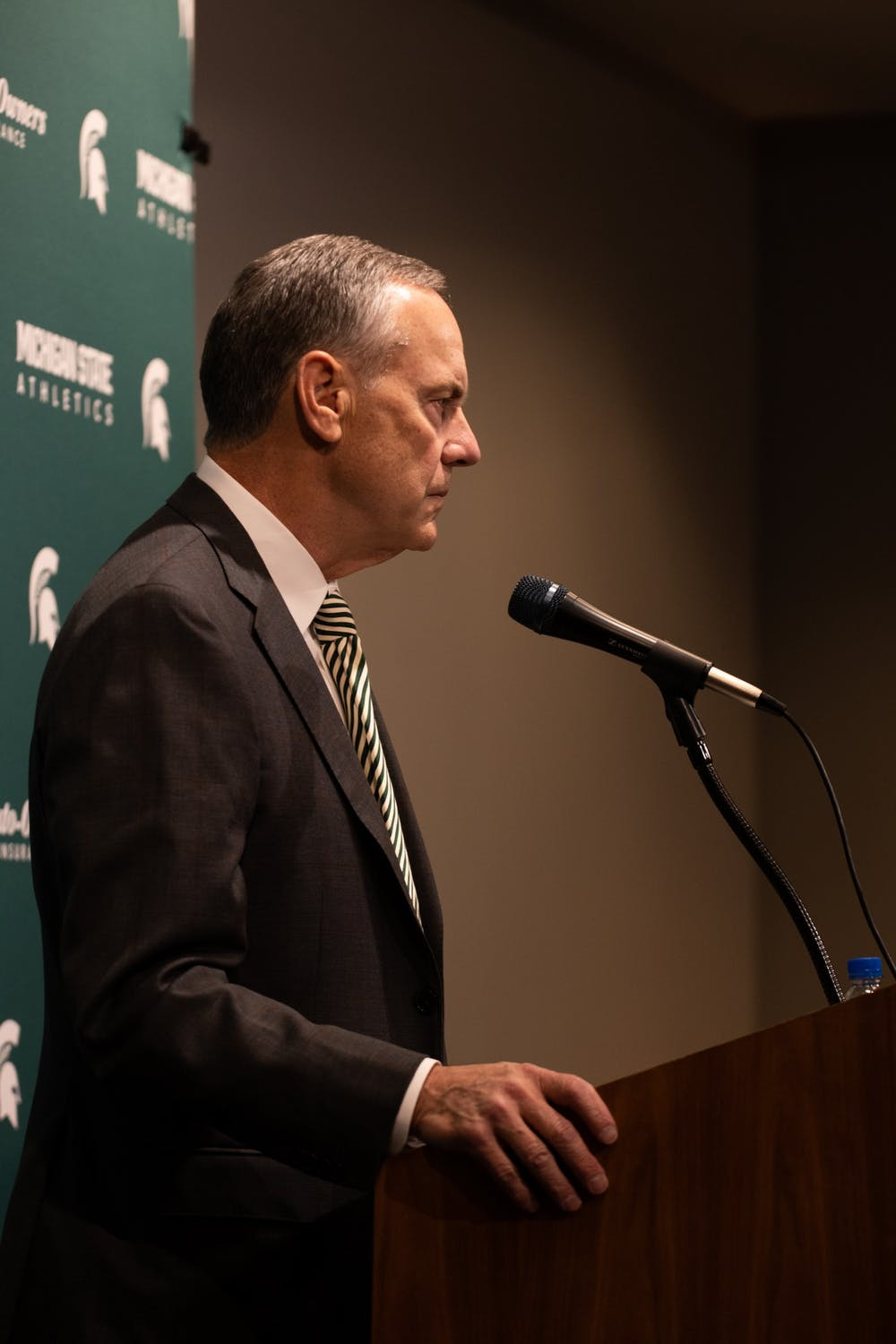 Dantonio listens to a question during a press conference at the Breslin Center on Feb. 4, 2020.