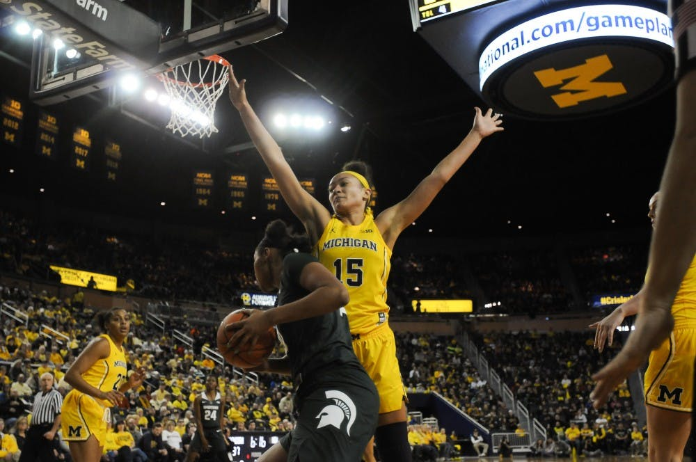 <p>U-M's sophomore forward Hailey Brown (15) guards Spartan sophomore forward Sidney Cooks (10) on Jan. 27, 2019 at the Crisler Arena. The Spartans defeated the Wolverines 77-73.&nbsp;</p>