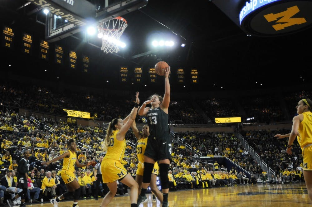 <p>Senior center Jenna Allen (33) goes for a layup at the Crisler Arena on Jan. 27, 2019. The Spartans would defeat the Wolverines 77-73.&nbsp;</p>