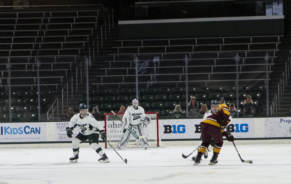 <p>No spectators will be allowed in Munn Ice Arena until further notice due to COVID-19 regulations. The Spartans fell to the Golden Gophers, 3-1, on Dec. 3, 2020.</p>