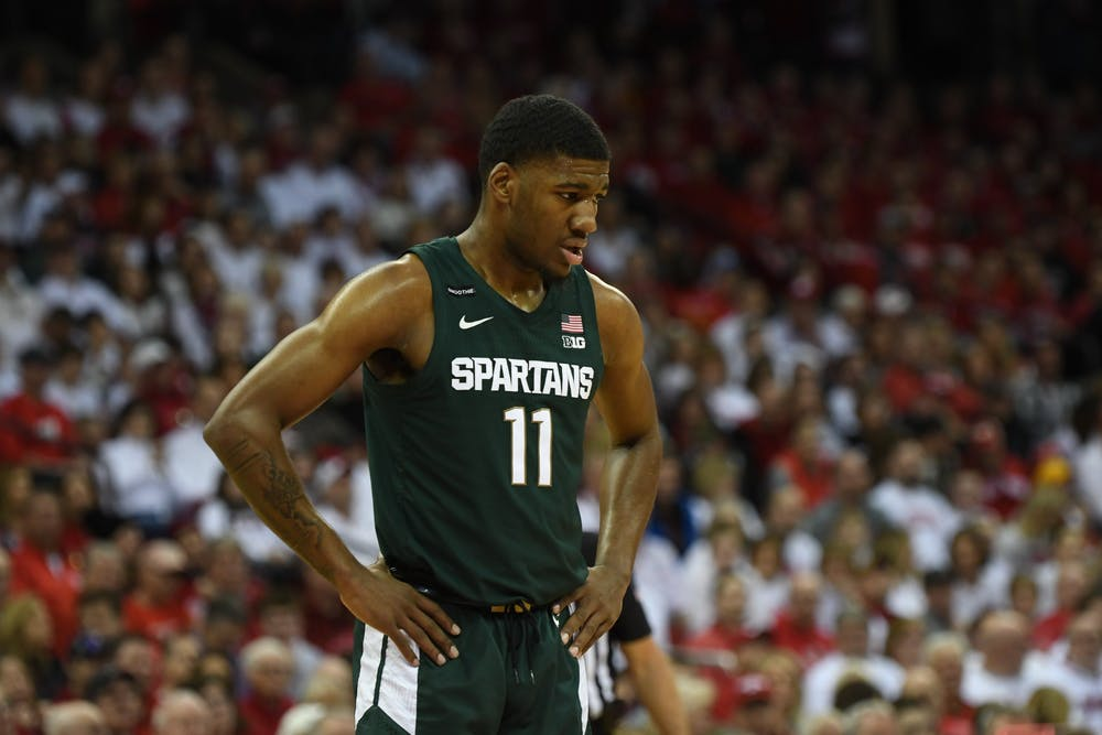 Sophomore forward Aaron Henry (11) during the basketball game against Wisconsin at the Kohl Center in Madison, Wisconsin on February 1, 2020. The Spartans fell to the Badgers 63-64.