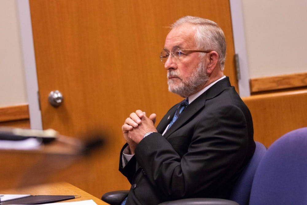 <p>Former MSU dean William Strampel sits during his preliminary hearing June 5, 2018 at the 54B District Court. Strampel is charged with four criminal charges including a fourth-degree criminal sexual conduct charge and a felony count of misconduct in office.</p>