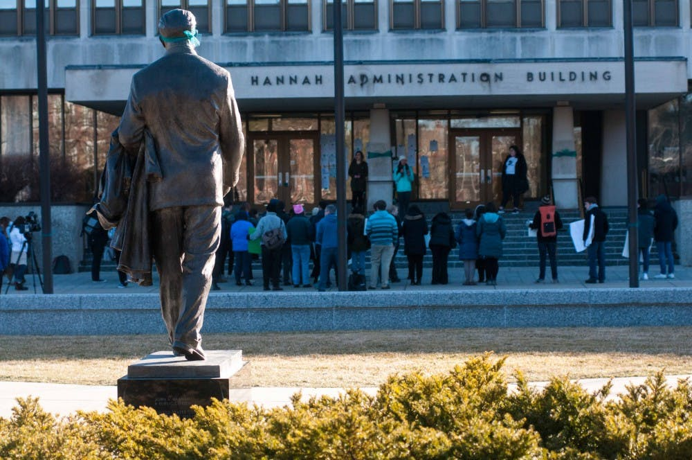 <p>Protesters gather at the Reclaim MSU Rally at the Hannah Administration Building on March 23, 2018. (Annie Barker | State News)</p>