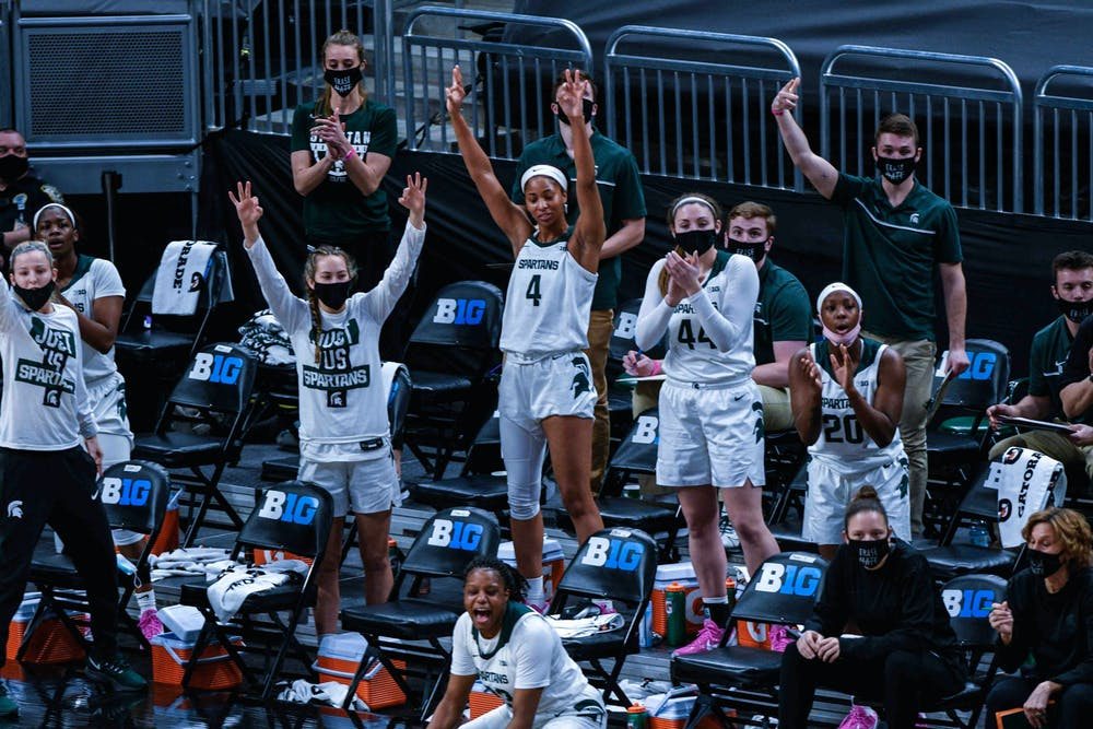 <p>The Spartans defeated the Lady Lions, 75-66, on the second day of the Big Ten Tournament hosted at Bankers Life Fieldhouse in Indianapolis. Shot on March 10, 2021.</p>