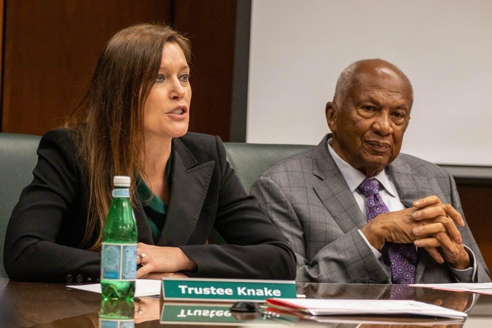 <p>Trustee Renee Knake speaks at the Board of Trustees meeting on Dec. 13.</p>