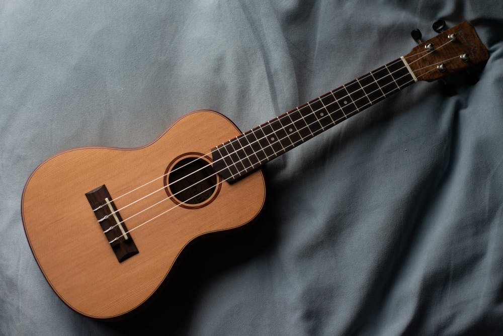 A ukulele photographed during the coronavirus quarantine on March 24, 2020.