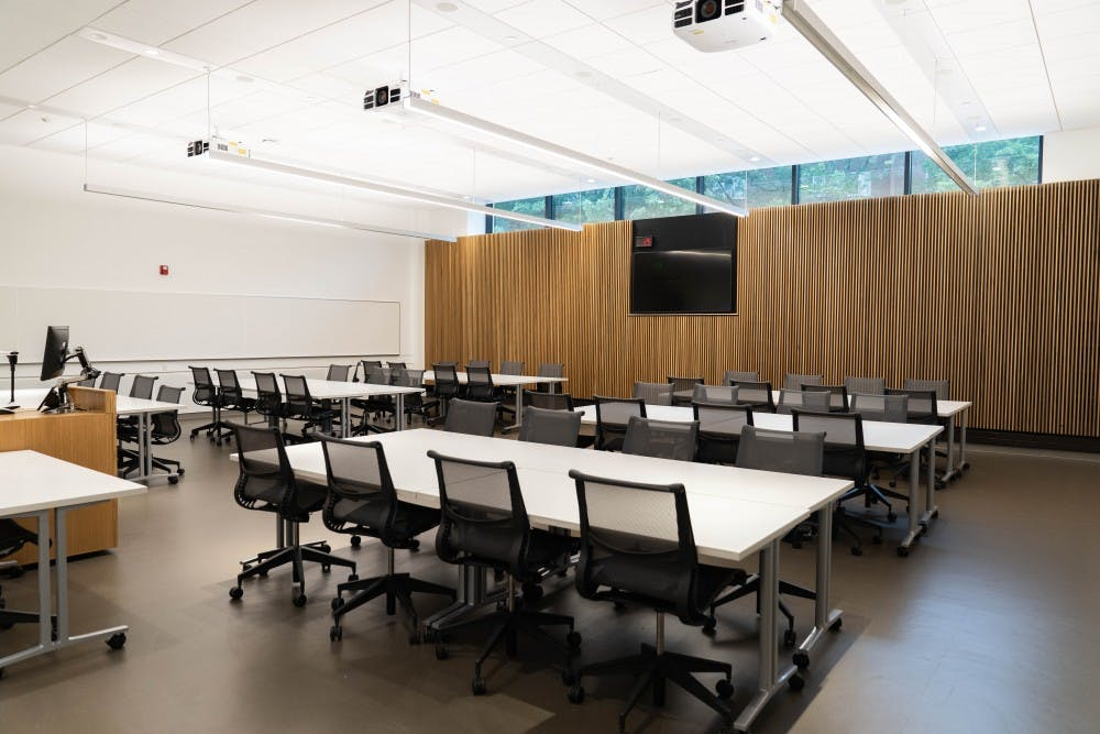 <p>A classroom in the Minskoff Pavilion photographed on July 25.</p>