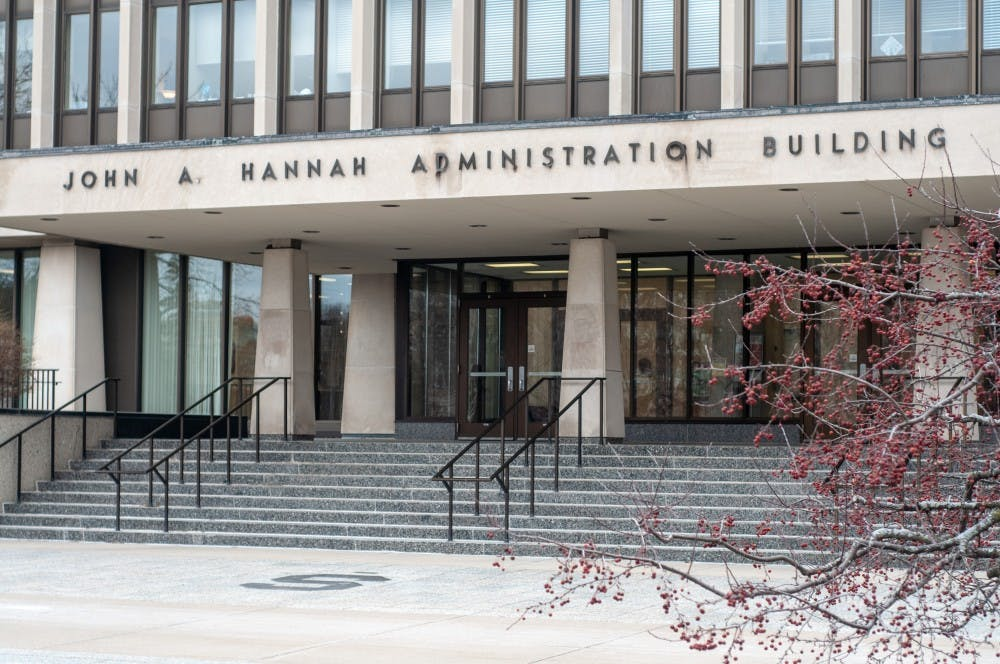The John A. Hannah Administration Building on Jan. 10, 2019.