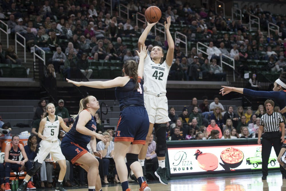 Freshman forward Kayla Belles (42) shoots the ball during the women's basketball game against Illinois at Breslin Center on Jan. 24, 2019. Nic Antaya/The State News
