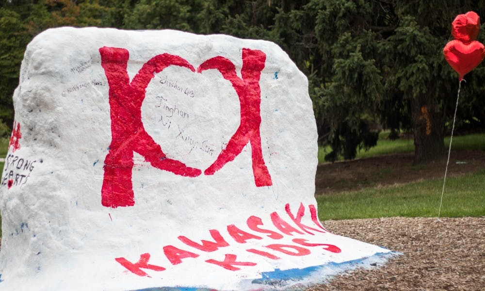 The Rock is painted for the Kawasaki 5k Fun Run at the MSU Auditorium on Sep. 8, 2018. The run was to raise awareness for Kawasaki disease.
