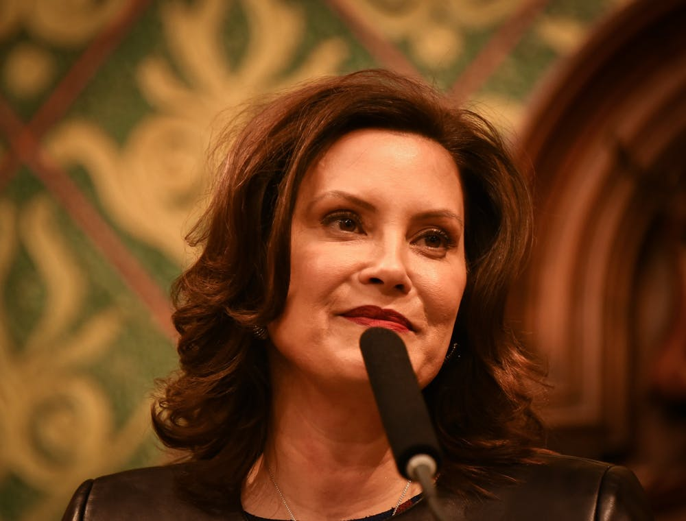 <p>Michigan Gov. Gretchen Whitmer during her second State of the State address at the Michigan State Capitol in Lansing on Jan. 29, 2020.</p>