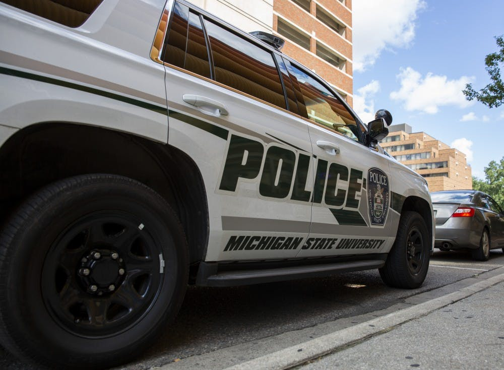 <p>A Michigan State Police car on Aug. 23, 2019 in East Lansing.  </p>