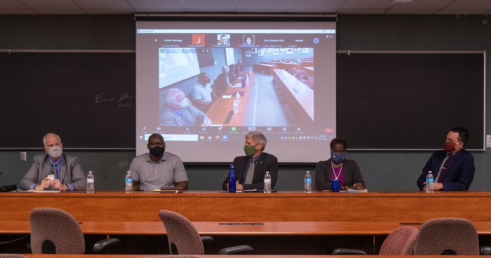 <p>The five East Lansing City Council candidates running for four-year and two-year terms met at Wells Hall on Monday, Oct. 11, for a debate leading up to the election on Nov. 2, 2021.</p>