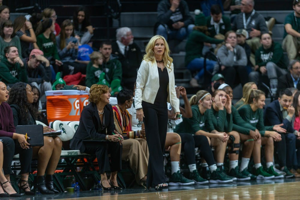 <p>Women's basketball head coach Suzy Merchant looks on from the bench as the Spartans face off against Maryland on Thursday, Jan. 17, 2019. The Spartans would upset Maryland, 77-60.</p>