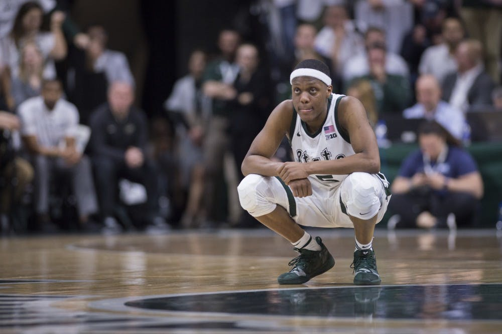 Junior guard Cassius Winston (5) looks on during the second half of the men's basketball game against Purdue on Jan. 8, 2018 at Breslin Center. The Spartans defeated the Boilermakers, 77-59.