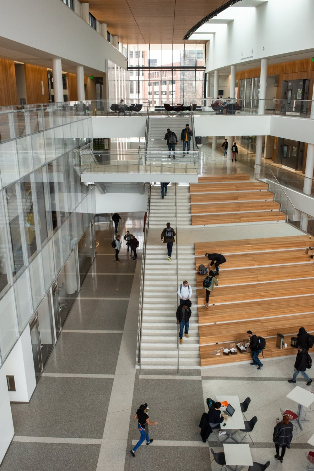 <p>Students leave the Eppley Center after an email is released notifying students that classes after noon have been canceled on March 11, 2020.</p>