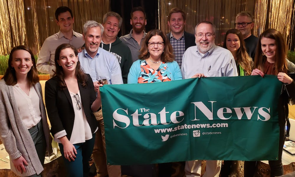 <p>2019-20 State News editor-in-chief Madison O&#x27;Connor (front row, far left) joins alumni at the Washington, D.C. meet-up on Nov. 1, 2019.</p>