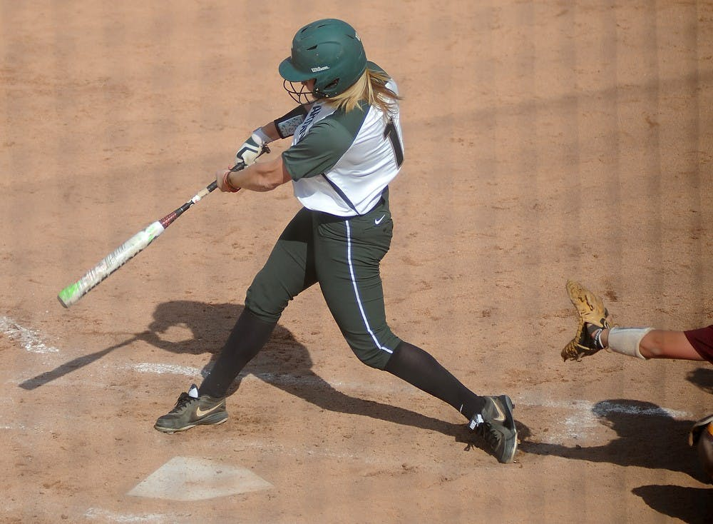 <p>Freshman outfielder Lea Foerster bats April 17, 2015, during a game against Minnesota at Secchia Softball Stadium. The Spartans were defeated by the Golden Gophers, 8-4. Alice Kole/The State News</p>