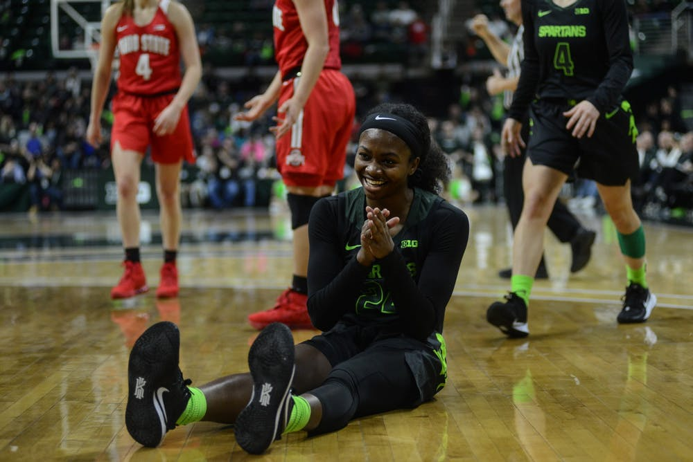 <p>Nia Clouden (24) laughs after getting fouled during the game against Ohio State Jan. 16, 2019 at Breslin Center.</p>