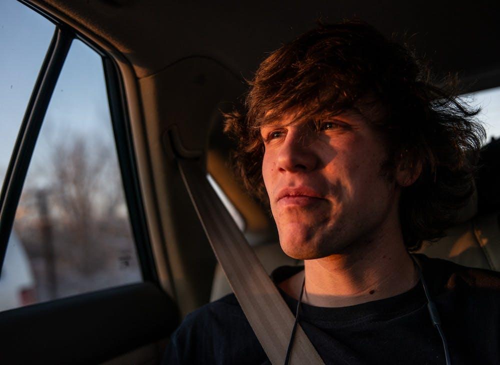 <p>Danius Anuzis photographed on a road trip to Champaign, Illinois on Feb. 13, 2020.</p>