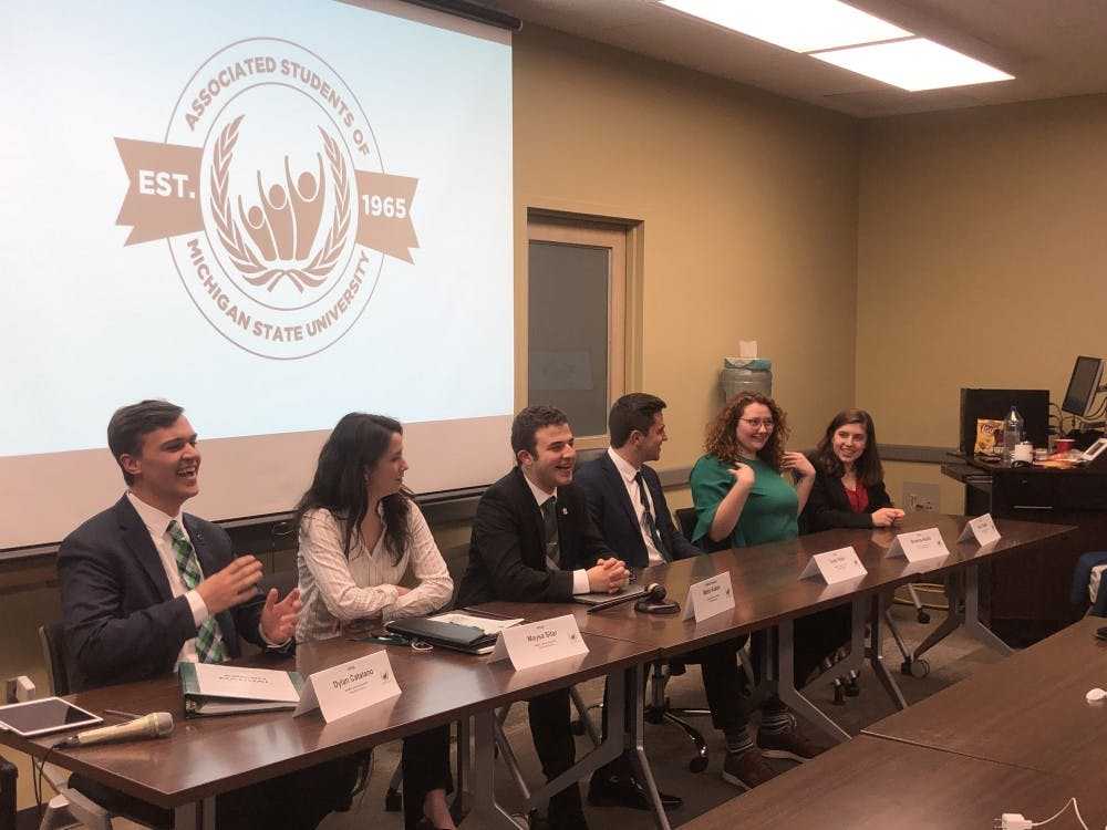 (Left to right) Vice President for Student Allocations-elect Dylan Catalano, Vice President for Governmental Affairs-elect Maysa Sitar, President-elect Mario Kakos, Vice President for Financial Operations-elect Tayte Rider, Vice President for Academic Affairs-elect Brianna Aiello and Vice President for Internal Administration-elect Nora Teagan.