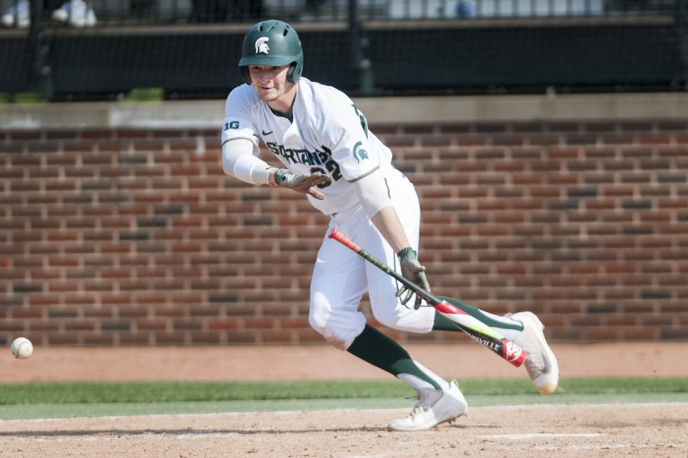 <p>Redshirt-sophomore outfielder Alex Troop (32) looks to hit the ball during the game against Toledo on April 26, 2017 at McLane Baseball Stadium at Kobs field. The Spartans defeated the Titans, 11-1.&nbsp;</p>