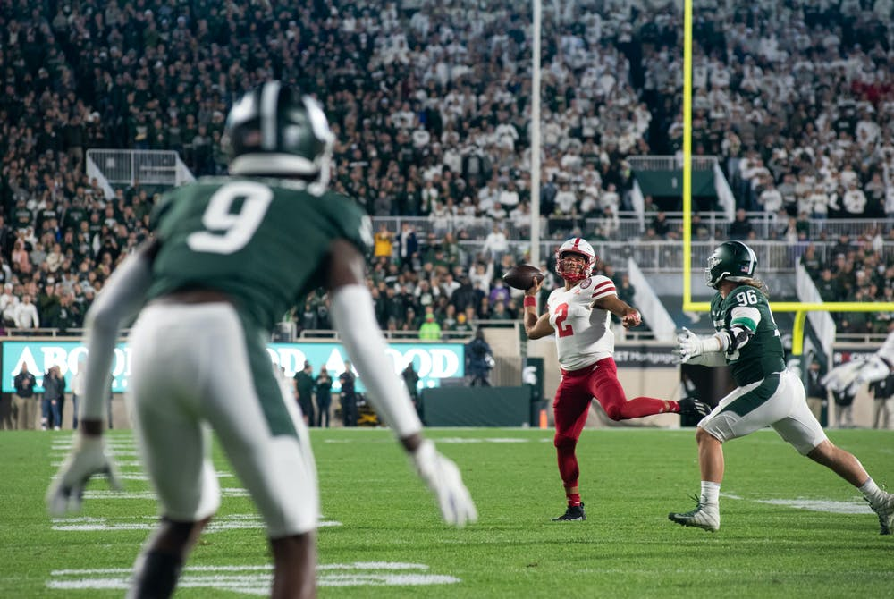 <p>Nebraska&#x27;s quarterback Adrian Martinez (2) prepares to throw the ball during Michigan State&#x27;s win against University of Nebraska on Sept. 25, 2021.</p>