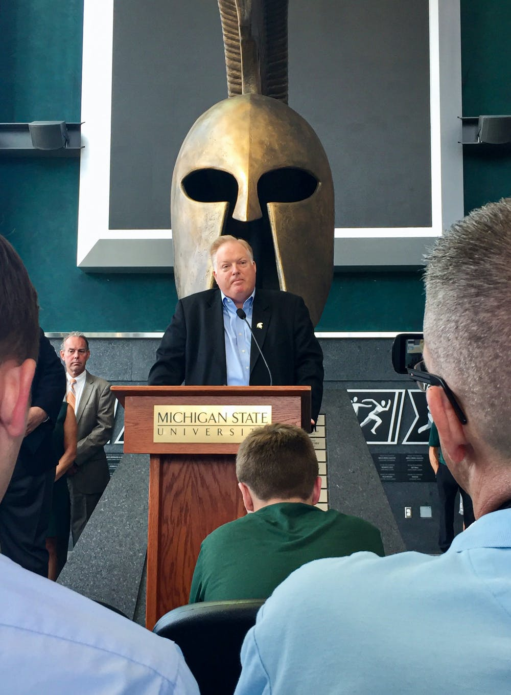 Bill Beekman speaks at a July 16, 2018, press conference announcing his appointment as MSU's permanent athletic director.